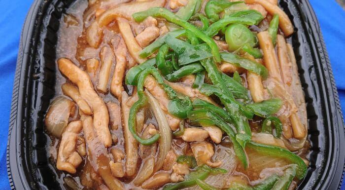 セブンの香ばし炒め青椒肉絲の表面