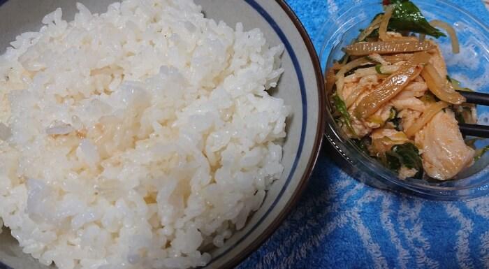 セブンのシャキシャキ野菜の蒸し鶏ザーサイと大ライス